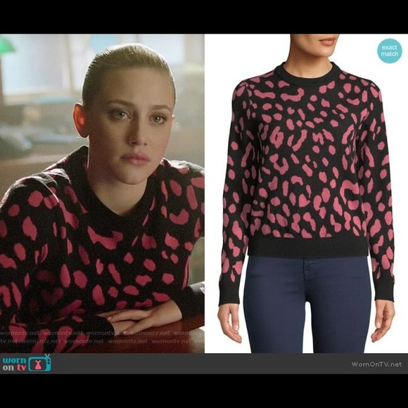Alice + Olivia Pink and Black Leopard Wool Sweater